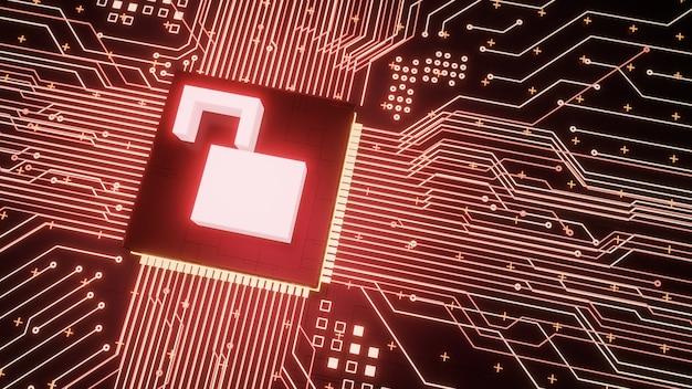 Microchip de símbolo de cadeado aberto no circuito da placa-mãe dentro de hardware de computador hackeado, proteção de dados digitais de vazamento de renderização 3d e fundo de conceito de negócio de baixa segurança cibernética