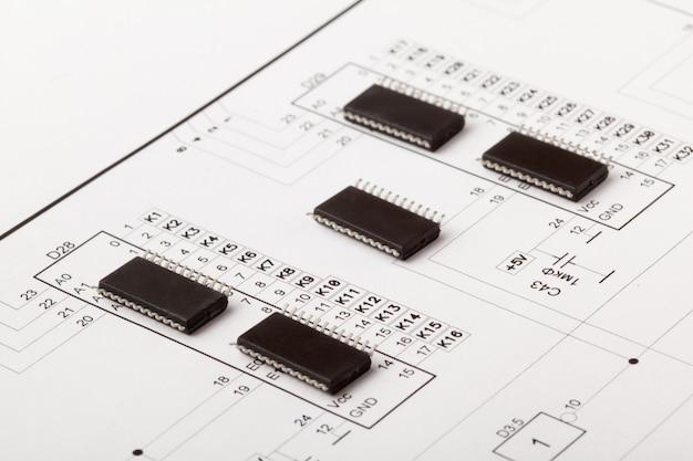 Microcircuito chips no desenho do dispositivo eletrônico