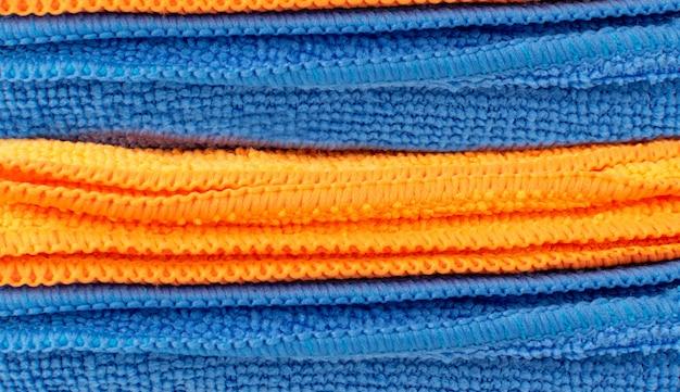 Microfibra azul pano limpeza textura fundo vista superior