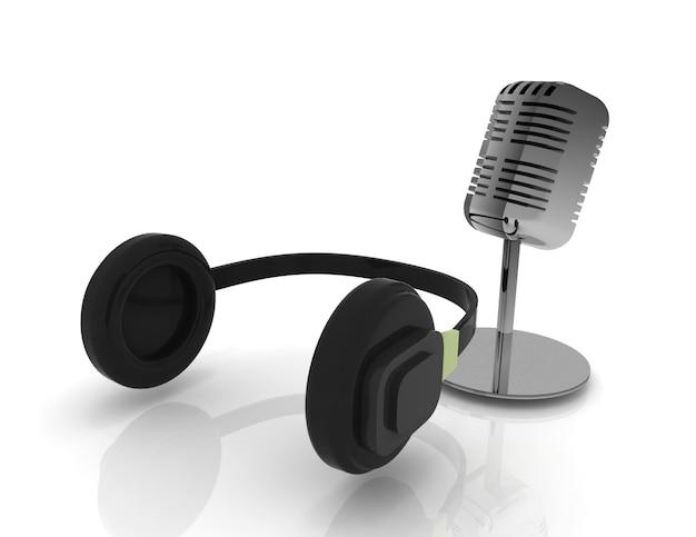 Microfone 3d e fone de ouvido isolado no branco