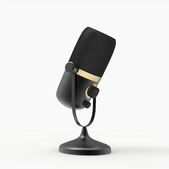 Microfone 3d programa de rádio ou conceito de podcast de áudio. ilustração 3d de microfone vintage