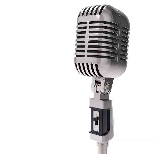 Microfone 3d retro. isolado
