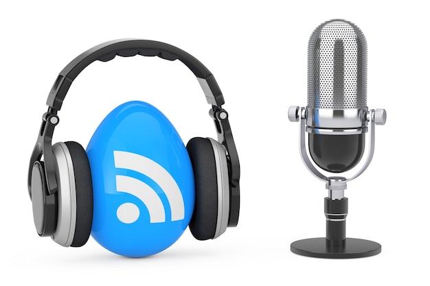 Microfone com fones de ouvido sobre ícone de logotipo de podcast rss em um fundo branco. renderização 3d