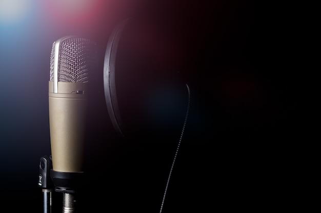 Microfone condensador profissional com filtro pop