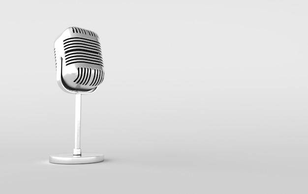 Microfone de concerto retro renderização 3d realista. microfone de metal cromado