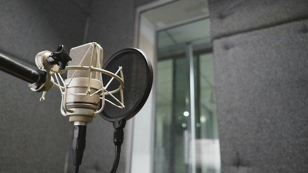 Microfone de estúdio com filtro pop