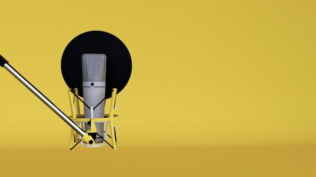 Microfone de estúdio e protetor de pop no microfone no estúdio de gravação vazio com fundo amarelo