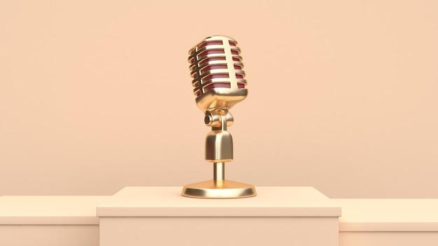 Microfone de ouro 3d render