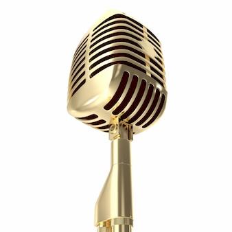 Microfone de ouro vintage isolado no branco.