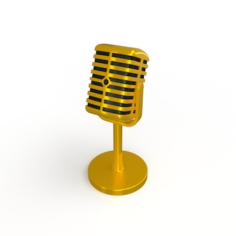Microfone de ouro vintage isolado no fundo branco, renderização em 3d