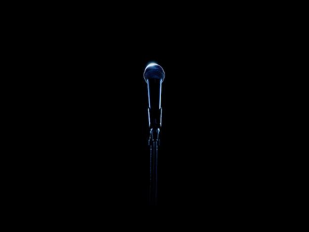 Microfone de palco em azul iluminado em fundo preto