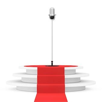 Microfone de prata vintage sobre o pódio do vencedor com tapete vermelho em um fundo branco. renderização 3d