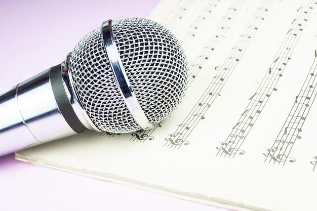 Microfone dinâmico na partitura
