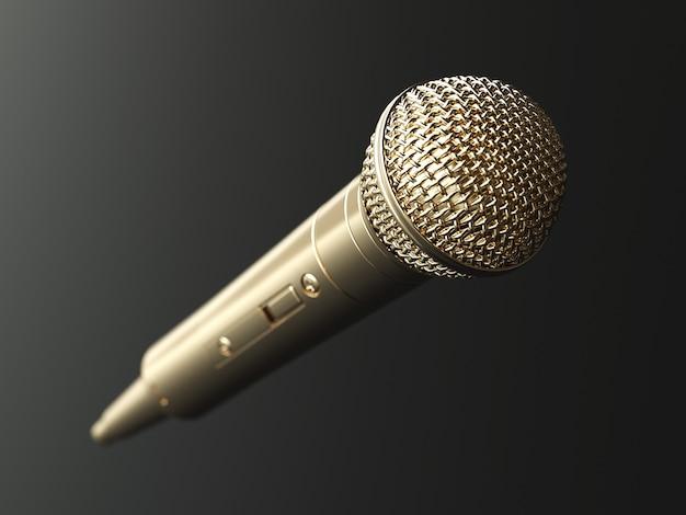 Microfone dourado no conceito de fundo fosco. ilustração 3d
