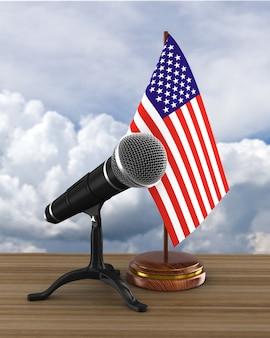 Microfone e bandeira dos eua. ilustração 3d