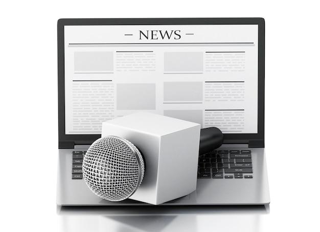 Microfone e portátil da notícia 3d com artigo de notícia.
