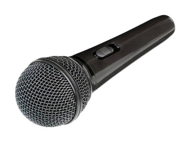 Microfone isolado na superfície branca
