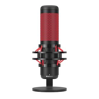 Microfone moderno do estúdio do condencer da área de trabalho em um fundo branco. renderização 3d