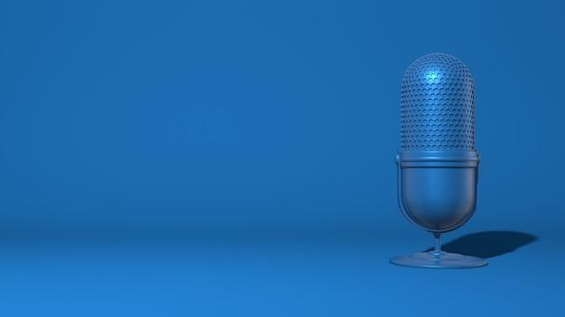 Microfone moderno para um stream, video blogger. cor azul clássica na moda. renderização em 3d