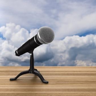 Microfone no espaço do céu. ilustração 3d