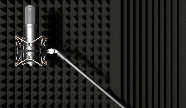 Microfone prateado em fundo preto, ilustração 3d