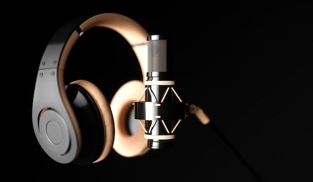 Microfone preto em um close-up de fundo preto com fones de ouvido, ilustração 3d