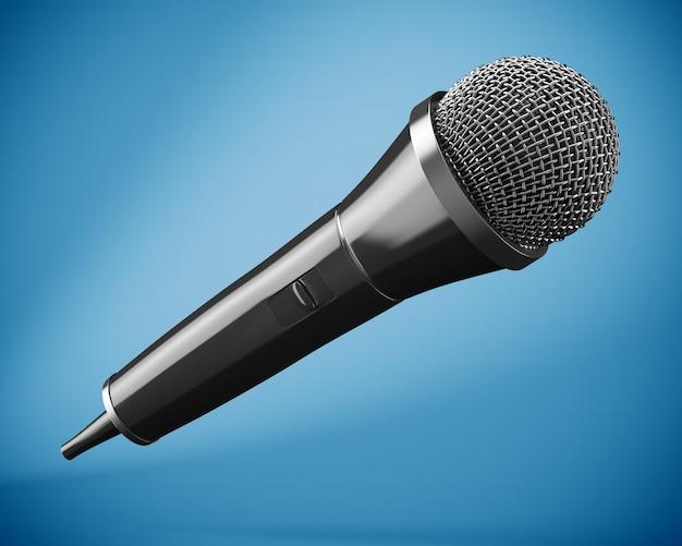 Microfone preto sobre fundo azul