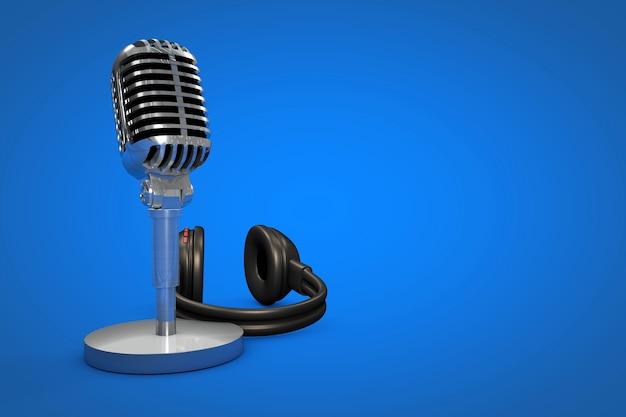 Microfone profissional com podcast de fundo colorido ou ilustração de fundo de estúdio de gravação
