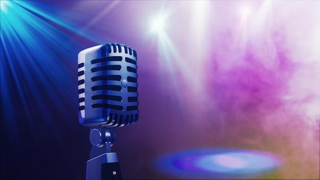 Microfone retrô antigo com iluminação de palco renderização em 3d