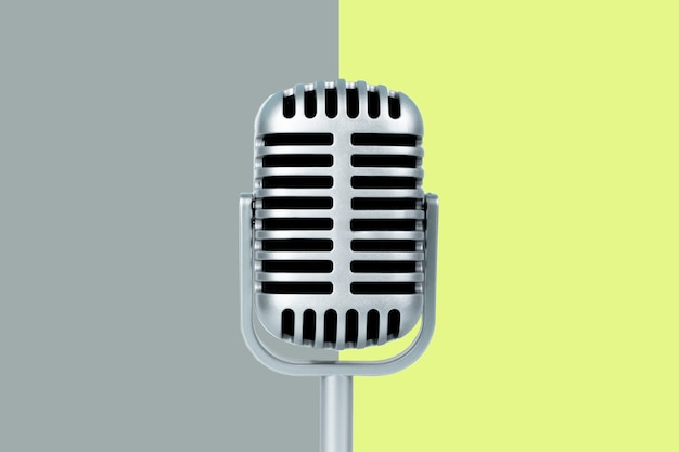 Microfone retrô com espaço de cópia na cor de fundo
