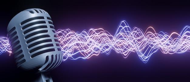 Microfone retrô em primeiro plano com onda sonora luminosa de vermelho e azul ao fundo. renderização 3d