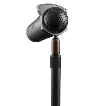 Microfone retro isolado no fundo branco 3d render ilustração do dispositivo de fala de metal vintage