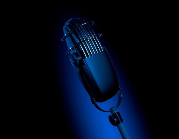Microfone retro vintage em cena azul escuro mic 3d render ilustração