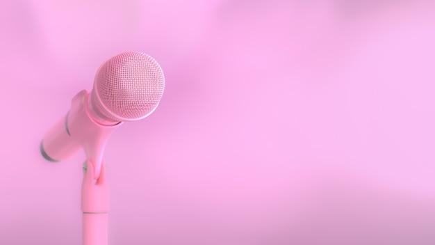 Microfone rosa música fundo e cópia espaço