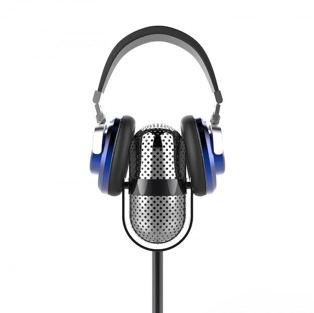 Microfone vintage com fones de ouvido modernos