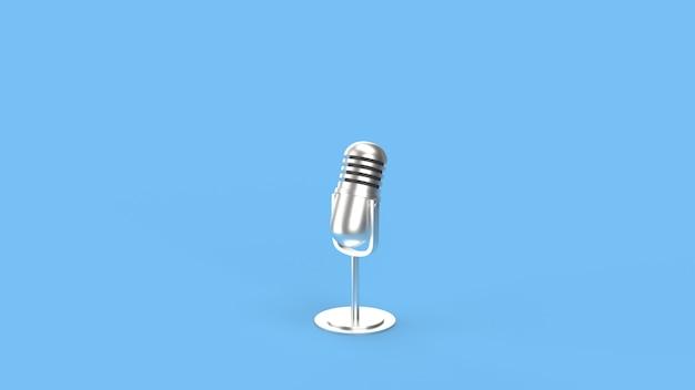 Microfone vintage na renderização 3d de sala azul para conteúdo de podcast.