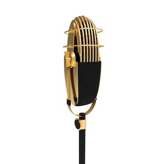 Microfone vintage retrô isolado no fundo branco dispositivo de fala metálico dourado para stand up