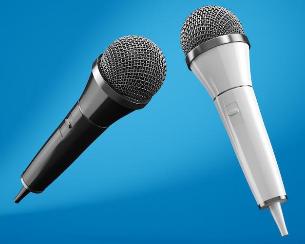 Microfones preto e branco sobre fundo azul