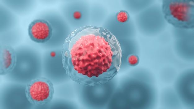 Microscópio de células humanas ou células-tronco embrionárias em uma terapia celular de fundo com luz azul