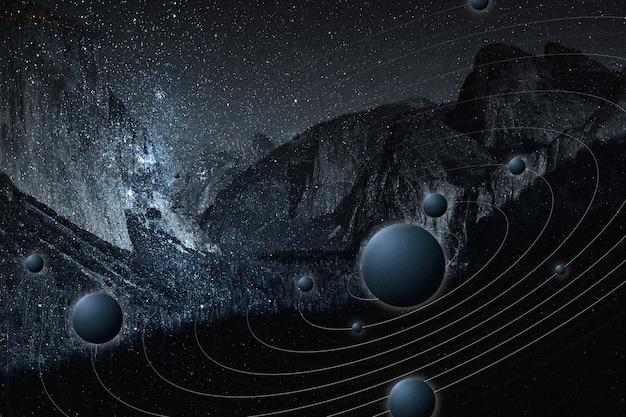 Mídia remixada da montanha do céu estrelado da natureza da galáxia