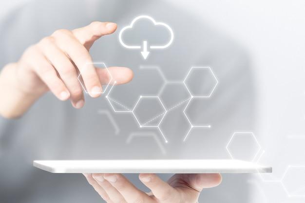 Mídia remixada da tecnologia inteligente de fundo do tablet do sistema em nuvem