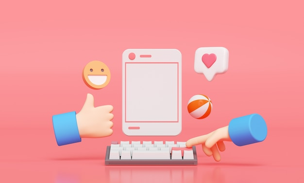 Mídia social com moldura de foto, como botão e mão de desenho animado. renderização 3d