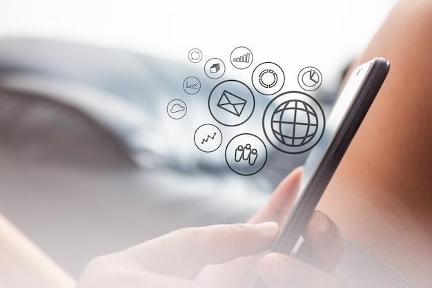 Mídia social comunique em qualquer lugar e a qualquer hora, conceitos de mídia social.