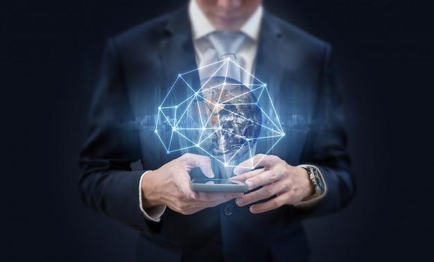 Mídia social e tecnologia de comunicação de rede de negócios.