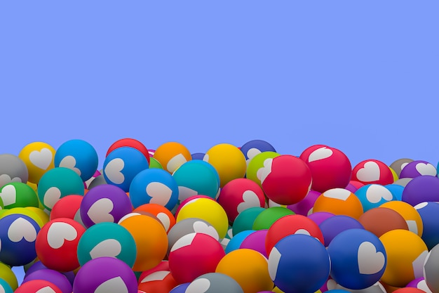 Mídia social emoji 3d render fundo, símbolo de balão de mídia social