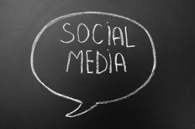 Mídia social - redes de internet - texto escrito à mão com giz branco em um quadro negro no discurso, bolha de diálogo mental.