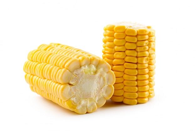Milho em um branco
