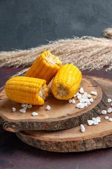 Milhos amarelos cortados de frente em uma superfície escura óleo de árvore de planta de salgadinho de milho