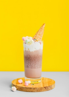 Milkshakes de close-up com sorvete
