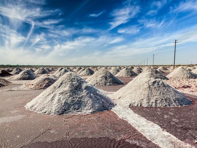 Mina de sal no lago sambhar, rajastão, índia